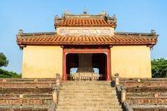 Stele Pavilion (Bi Dinh) on blue sky background, Hue, Vietnam. Scenic view of Stele Pavilion (Bi Dinh) on blue sky background at the Minh Mang Tomb in Hue royalty free stock image