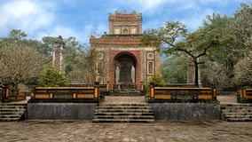 The Stele Pavilion and obelisks in Tu Duc Royal Tomb, Hue, Vietnam. Pictured is the Stele Pavilion flanked by two obelisks in Tu Duc Royal Tomb complex four royalty free stock photos
