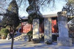 Stele von fayuansi Tempel im Winter, luftgetrockneter Ziegelstein rgb Lizenzfreie Stockfotos