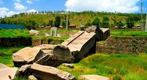 Steles d'Axum de pierres tombales aka, Tigray, Ethiopie du nord Photographie stock