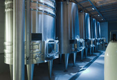 Stell barrels in winemaker Stock Photography