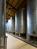 Stell barrels in winery factory Royalty Free Stock Photos