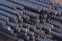 Stell rods use in construction. Closeup the end of steel rods used in construction to reinforce concrete Royalty Free Stock Images