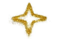 Stella astratta della scintilla dorata di scintillio su bianco Fotografie Stock Libere da Diritti