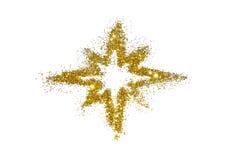 Stella astratta della scintilla dorata di scintillio su bianco Immagini Stock