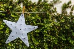 Stella bianca che appende su una corda, con un fondo verde Immagine Stock Libera da Diritti