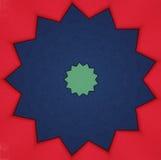 Stella blu e verde su colore rosso Immagini Stock Libere da Diritti