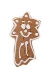 Stella cadente del pan di zenzero di Natale isolata su un fondo bianco Fotografie Stock
