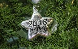 Stella d'argento del ` s del nuovo anno su un fondo verde royalty illustrazione gratis