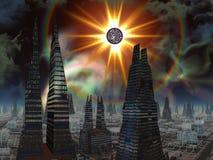 Stella d'esplosione sopra l'orizzonte futuristico della città illustrazione vettoriale