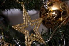 Stella d'oro di festa di Natale nell'albero dei xmass Immagine Stock