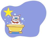 Stella del bagno del cane - bulldog Immagine Stock
