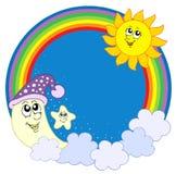Stella del sole della luna nel cerchio del Rainbow Fotografie Stock