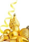 Stella dell'oro, sfera di natale ed il Babbo Natale Immagini Stock