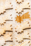 Stella della cometa di Natale con zucchero in polvere Fotografia Stock Libera da Diritti