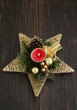 Stella della decorazione della candela di Natale Immagini Stock Libere da Diritti