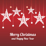 Stella delle decorazioni di Natale Buon Natale e buon anno Immagini Stock Libere da Diritti