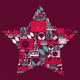 Stella delle icone di musica del DJ Immagine Stock