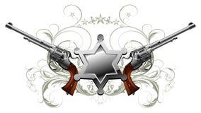 Stella dello sceriffo con le pistole Immagine Stock