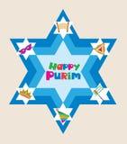 Stella di David con gli oggetti della festa ebrea Fotografia Stock