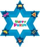 Stella di David con gli oggetti della festa ebrea Fotografia Stock Libera da Diritti