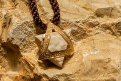 Stella di Davide con il pezzo di Temple Mount Fotografia Stock
