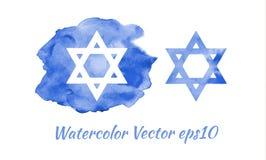 Stella di Davide dell'acquerello, simbolo ebreo, emblema Illustrazione di vettore illustrazione vettoriale