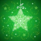 Stella di Natale con verde dei fiocchi di neve. Fotografie Stock Libere da Diritti