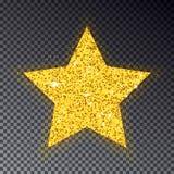 Stella di natale dell'oro Grande stella dorata per l'albero di abete Scintilla con Fotografia Stock Libera da Diritti