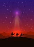 Stella di Natale e tre saggi illustrazione vettoriale