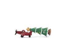 Stella di Natale rossa di verde dell'ansa dell'aeroplano su fondo bianco Fotografia Stock