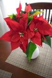 Stella di Natale rossa sulla luce della parte posteriore della tavola dietro dalla finestra luminosa fotografia stock libera da diritti