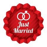Stella di nozze. Appena autoadesivo sposato con gli anelli. Fotografie Stock Libere da Diritti