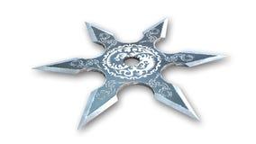 Stella di Shuriken, arma di ninja, fondo bianco Fotografia Stock Libera da Diritti