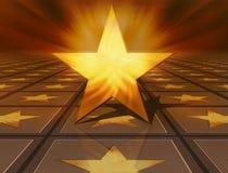 stella dorata 3d su colore marrone Fotografia Stock