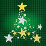 Stella dorata e d'argento nell'albero di Natale con il fondo del contenitore di regalo illustrazione di stock