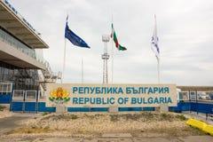 Stella e bandiere nel porto di Bourgas, Bulgaria Fotografia Stock Libera da Diritti