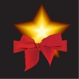 Stella e nastro con il Natale fondo ed il vettore della cartolina d'auguri Illustrazione Vettoriale
