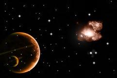 Stella e pianeti luminosi Fotografia Stock Libera da Diritti