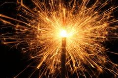 Stella filante bruciante di Natale, fuoco del Bengala Immagini Stock Libere da Diritti
