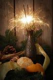 stella filante con i mandarini ed il melograno su un fondo dell'albero Fotografia Stock Libera da Diritti
