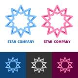 Stella geometrica impossibile Logo Set Colorato, in bianco e nero Fotografia Stock Libera da Diritti