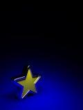 Stella gialla su priorità bassa blu scuro Fotografie Stock Libere da Diritti