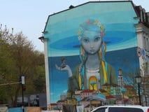 Stella on a house in Kiev. Ukrainian woman image on Stella Royalty Free Stock Photography