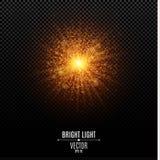 Stella luminosa di Natale Un flash dorato di luce Luci dell'estratto della polvere di oro e raggi di luce dorati Bokeh di abbagli illustrazione di stock