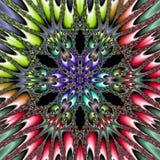 Stella multicolore Mandala Flower Vibrant Kaleidoscope, modello ornamentale del planetoid nei colori spettrali royalty illustrazione gratis