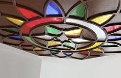 Stella nazionale ad angolo del loto di vetro macchiato Immagini Stock Libere da Diritti