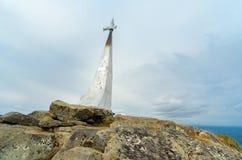 Stella rocket in honor of Gagarin`s flight on mountain Kachkanar. The Urals. Russia. Stella rocket on a rock in honor of Gagarin`s flight. Established in 1961 on Royalty Free Stock Photos