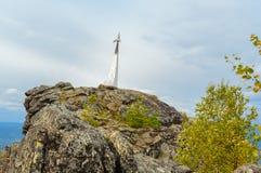Stella rocket in honor of Gagarin`s flight on mountain Kachkanar. The Urals. Russia. Stella rocket on a rock in honor of Gagarin`s flight. Established in 1961 on Stock Photography