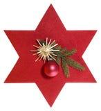 Stella rossa con la decorazione di natale Immagine Stock Libera da Diritti